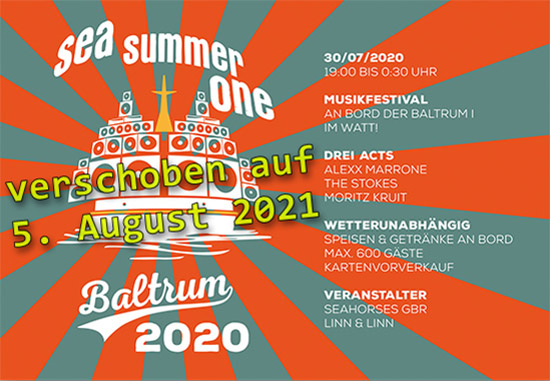 SEA SUMMER ONE BALTRUM 2020 verschoben auf 5.8. 2021